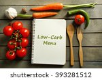 text low carb menu in recipe... | Shutterstock . vector #393281512