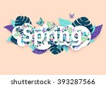 floral spring background with... | Shutterstock .eps vector #393287566