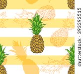 vector pineapple seamless... | Shutterstock .eps vector #393293515
