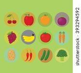 big set of fruits and... | Shutterstock .eps vector #393294592
