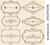 set of calligraphic frames and... | Shutterstock .eps vector #393295558