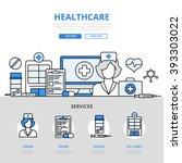 healthcare online hospital... | Shutterstock .eps vector #393303022