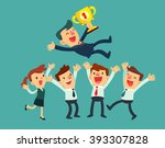 business leader with a trophy... | Shutterstock .eps vector #393307828