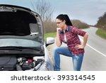 young woman standing beside... | Shutterstock . vector #393314545