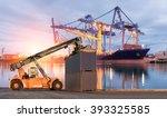 forklift handling container box ... | Shutterstock . vector #393325585