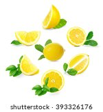 set of  fresh lemons with... | Shutterstock . vector #393326176
