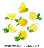 set of  fresh lemons with... | Shutterstock . vector #393326176