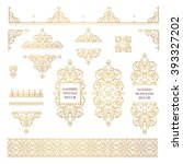vector set of line art frames... | Shutterstock .eps vector #393327202