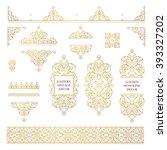 vector set of line art frames... | Shutterstock .eps vector #393327202