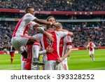 Small photo of NETHERLANDS, AMSTERDAM - February 21th 2016: the ArenA during Dutch Eredivisie match from Ajax , Ajax players Celebrate , Riechedly Bazoer, Arek Milik, Davy Klaassen, Mitchell Dijks, Amin Younes