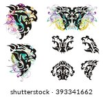 grunge lion head and lion head... | Shutterstock .eps vector #393341662