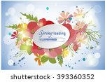 floral poppy and cosmos... | Shutterstock .eps vector #393360352
