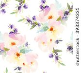 seamless pattern with flowers... | Shutterstock . vector #393374335