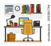 thin line office workspace or... | Shutterstock .eps vector #393381796