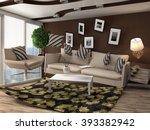 zero gravity sofa hovering in... | Shutterstock . vector #393382942