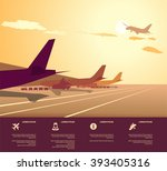 airplanes at airport during... | Shutterstock .eps vector #393405316