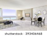 modern luxury living and dining ... | Shutterstock . vector #393406468