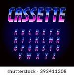 Stock vector  s retro futurism sci fi font alphabet vector 393411208