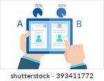 a b comparison. split testing.... | Shutterstock .eps vector #393411772