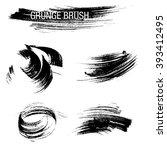 vector set of grunge brush... | Shutterstock .eps vector #393412495