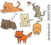 vector set of cats | Shutterstock .eps vector #393417628
