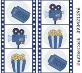 cinema icons. movie camera.... | Shutterstock .eps vector #393421396