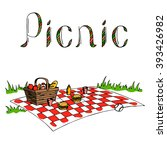 picnic graphic art color... | Shutterstock .eps vector #393426982