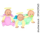 three infants in the sliders.... | Shutterstock .eps vector #393429565