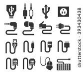 cable icon set | Shutterstock .eps vector #393430438