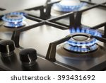 kitchen gas cooker with burning ... | Shutterstock . vector #393431692