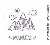 vector doodle mountain poster.... | Shutterstock .eps vector #393433096