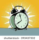 cartoon pop art alarm clock.... | Shutterstock .eps vector #393437332