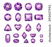 Set Of Realistic Purple Jewels...