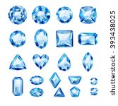 set of realistic blue jewels.... | Shutterstock .eps vector #393438025