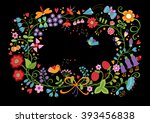hand drawn wreath with red... | Shutterstock . vector #393456838