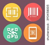 bar and qr code icons. ... | Shutterstock .eps vector #393458005