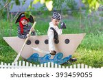 children play pirates at... | Shutterstock . vector #393459055