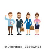 business man and business woman ... | Shutterstock .eps vector #393462415