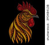 vector fiery rooster on new... | Shutterstock .eps vector #393484138