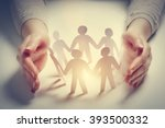 paper people surrounded by... | Shutterstock . vector #393500332