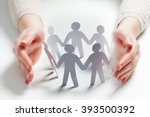 paper people surrounded by... | Shutterstock . vector #393500392