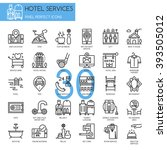 hotel service    thin line and... | Shutterstock .eps vector #393505012