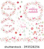romantic set with floral... | Shutterstock .eps vector #393528256