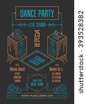 dance party poster. isometric... | Shutterstock .eps vector #393528382