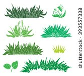 hand drawn green grass isolated ... | Shutterstock .eps vector #393557338