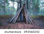 shelter of branches in the... | Shutterstock . vector #393560242