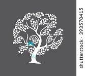 birds couple in love on tree...   Shutterstock .eps vector #393570415