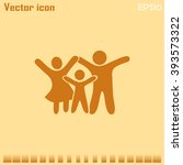 happy family icon in simple... | Shutterstock .eps vector #393573322