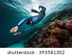 free diver swimming underwater... | Shutterstock . vector #393581302