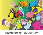 sweet doodle of cute hippos and ... | Shutterstock .eps vector #39359839